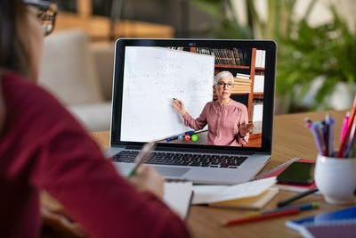 Edu Studying with video online lesson at home stock photo i Stock 1213470247